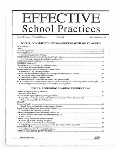 Effective School Practices, Vol. 12, No. 4/Vol. 13, No. 1 - Fall 1993/Winter 1994