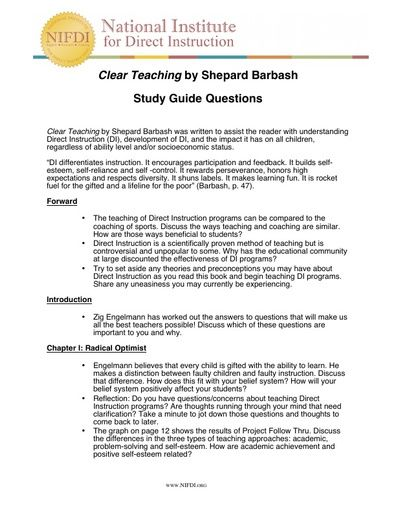 Clear Teaching Study Guide