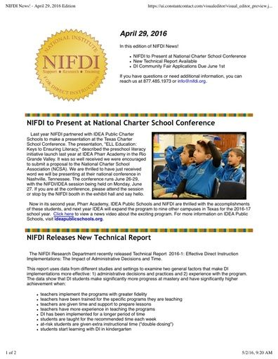 NIFDI News! April 2016 Edition