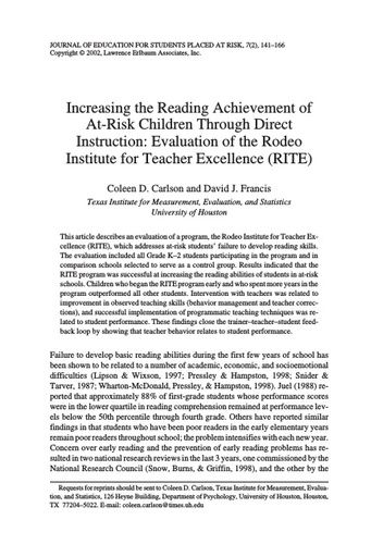 Increasing the Reading Achievement of At-Risk Children Through Direct Instruction: Evaluation of the Rodeo Institute for Teacher Excellence (RITE) (Carlson & Francis, 2002)