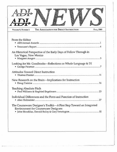 DI News, Vol. 9, No. 1 - Fall 1989