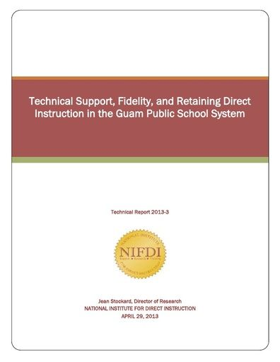 2013-3: Technical Support, Fidelity, and Retaining Direct Instruction in the Guam Public School System