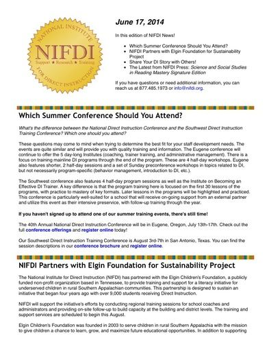 NIFDI News! 06-17-14 Edition