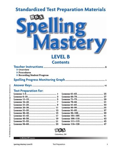 Spelling Mastery Level B Test Prep