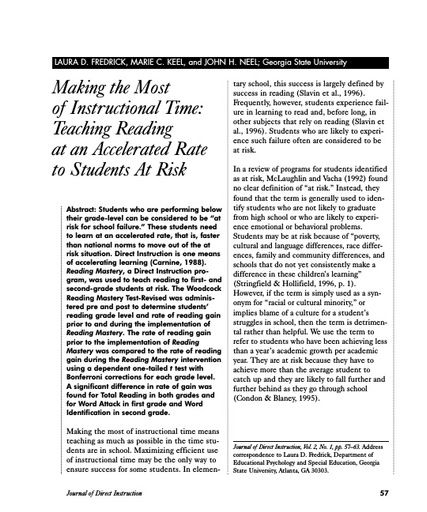 Making the Most of Instructional Time: Teaching Reading at an Accelerated Rate to Students At Risk