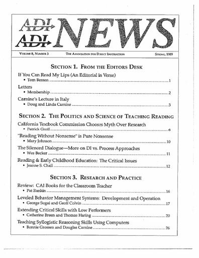 DI News, Vol. 8, No. 3 - Spring 1989
