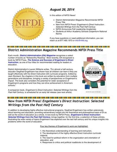 NIFDI News! 08-26-14 Edition