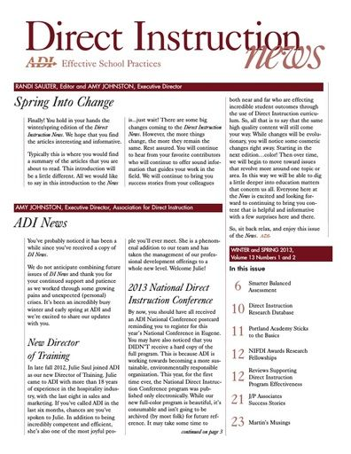DI News, Vol. 13, No. 1 & 2 - Winter & Spring 2013
