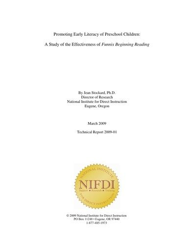 2009-1: Promoting Early Literacy of Preschool Children: A Study of the Effectiveness of Funnix Beginning Reading