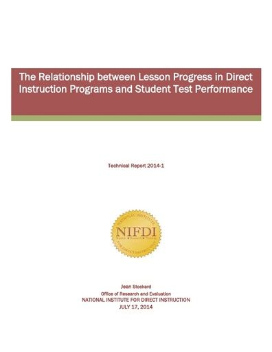 2014-1: The Relationship Between Lesson Progress in Direct Instruction Programs and Student Test Performance