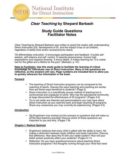 Clear Teaching Facilitator Guide