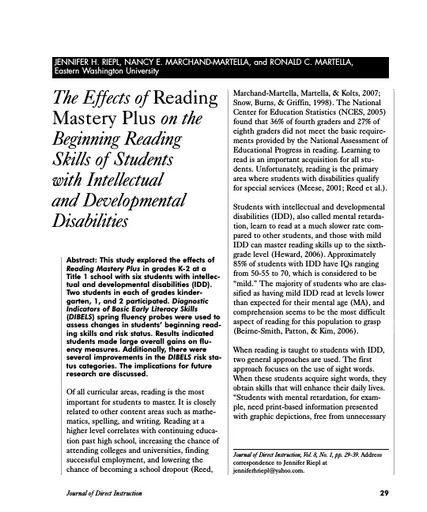 The Effects of Reading Mastery Plus on the Beginning Reading Skills of Students with Intellectual and Developmental Disabilities