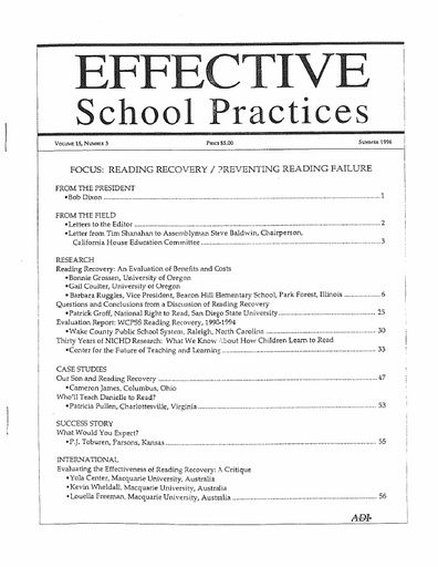Effective School Practices, Vol. 15, No. 3 - Summer 1996