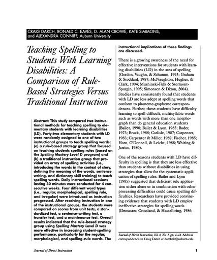Teaching Spelling to Students With Learning Disabilities: A Comparison of Rule-Based Strategies Versus Traditional Instruction