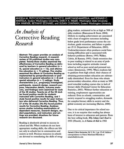 An Analysis of Corrective Reading Research