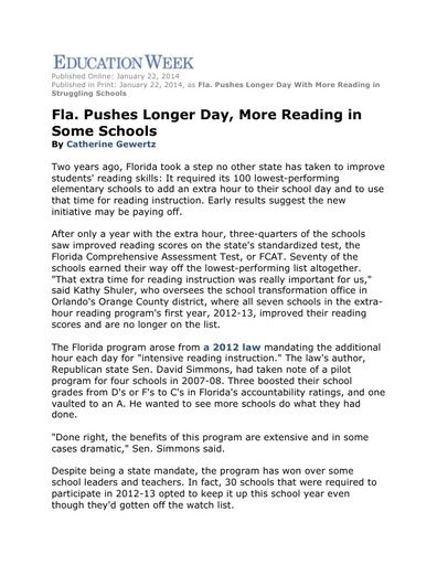 Florida Pushes Longer Day, More Reading in Some Schools (Education Week, Jan 2014)