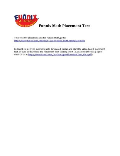 Funnix Math Placement Test Instructions