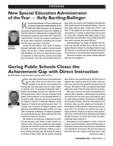 Gering Public Schools Closes the Achievement Gap with Direct Instruction (NCSA Today, Dec 2008)