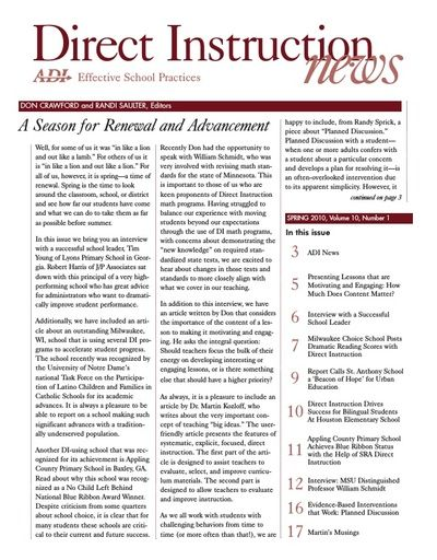 DI News, Vol. 10, No. 1 - Spring 2010