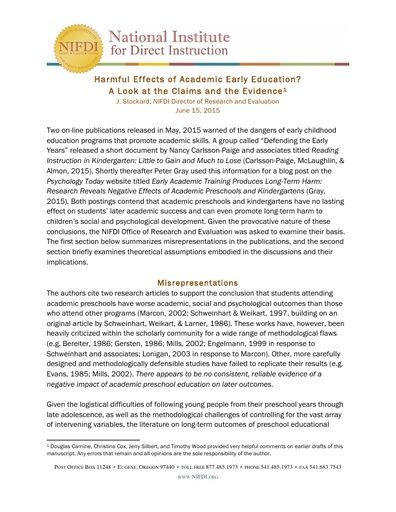 Harmful Effects of Academic Early Education? A Look at the Claims and the Evidence, June 15, 2015