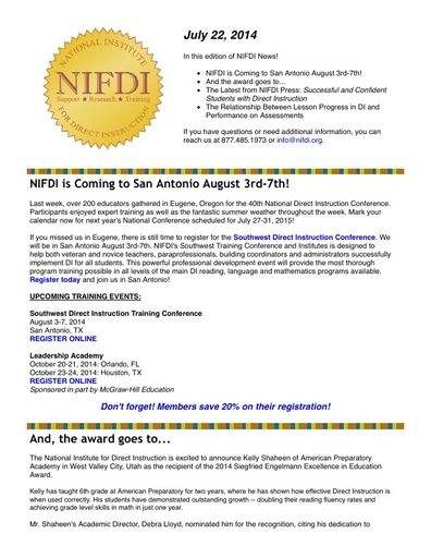 NIFDI News! 07-22-14 Edition