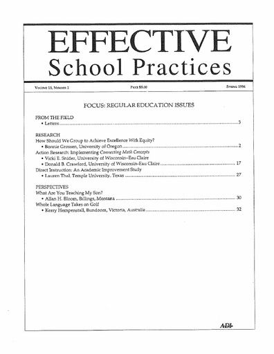 Effective School Practices, Vol. 15, No. 2 - Spring 1996