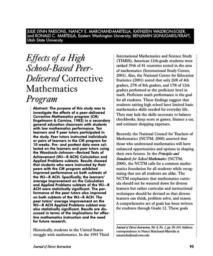 Effects of a High School-Based PeerDelivered Corrective Mathematics Program