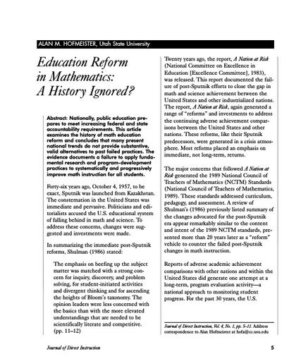 Education Reform in Mathematics: A History Ignored?