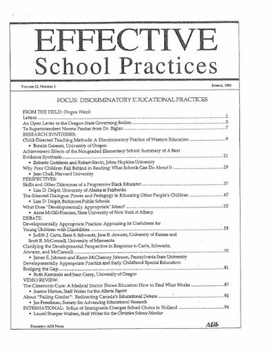 Effective School Practices, Vol. 12, No. 2 - Spring 1993