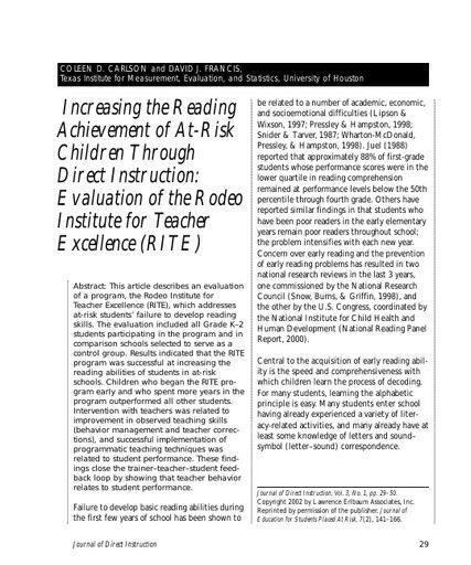 Increasing the Reading Achievement of At-Risk Children Through DI: Evaluation of the Rodeo Institute for Teacher Excellence (RITE)