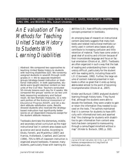 An Evaluation of Two Methods for Teaching United States History to Students With Learning Disabilities