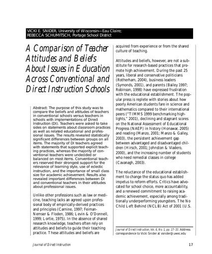 A Comparison of Teacher Attitudes and Beliefs About Issues in Education Across Conventional and Direct Instruction Schools