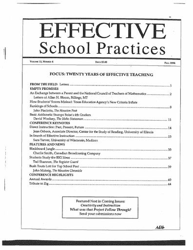 Effective School Practices, Vol. 13, No. 4 - Fall 1994