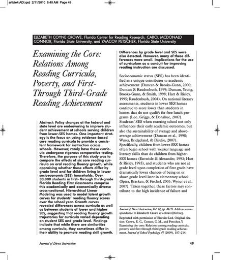 Examining the Core: Relations Among Reading Curricula, Poverty, and First- Through Third-Grade Reading Achievement