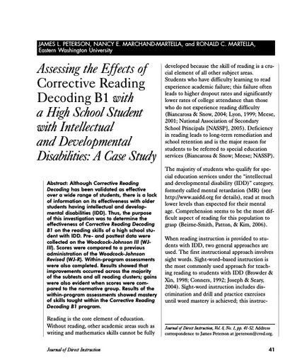 Assessing the Effects of Corrective Reading Decoding B1 with a High School Student with Intellectual and Developmental Disabilities: A Case Study