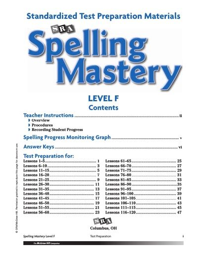 Spelling Mastery Level F Test Prep