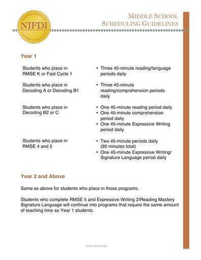 Middle School Scheduling Guidelines