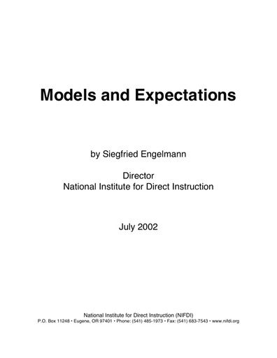 Models and Expectations by Siegfried Engelmann