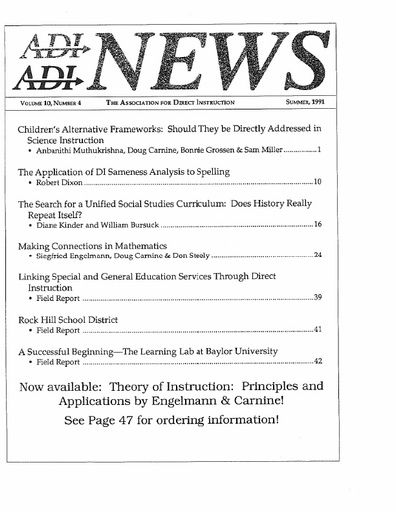 DI News, Vol. 10, No. 4 - Summer 1991