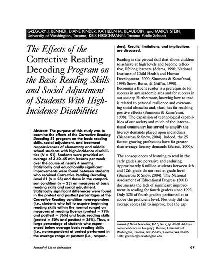 The Effects of the Corrective Reading Decoding Program on the Basic Reading Skills and Social Adjustment of Students With High Incidence Disabilities