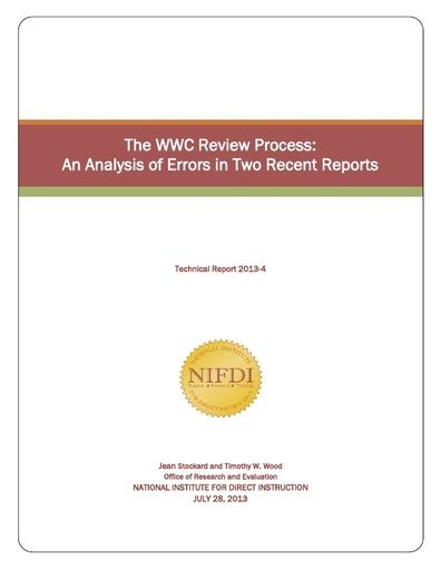 The What Works Clearinghouse Review Process: An Analysis of Errors in Two Recent Reports (July, 2013)