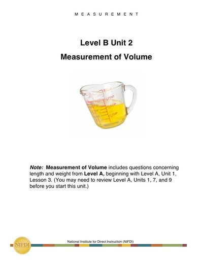 Academic Core Level B - Unit #2: Measurement of Volume