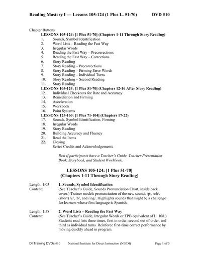 (DVD #10) Reading Mastery I - Lessons 105-124 (1 Plus, L. 51-70)