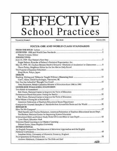 Effective School Practices, Vol. 13, No. 3 - Summer 1994