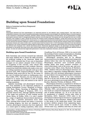 Building Upon Sound Foundations