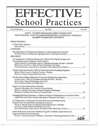 Effective School Practices, Vol. 18, No. 2 - Fall 1999