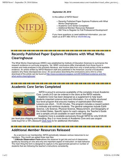 NIFDI News! September 2016 Edition