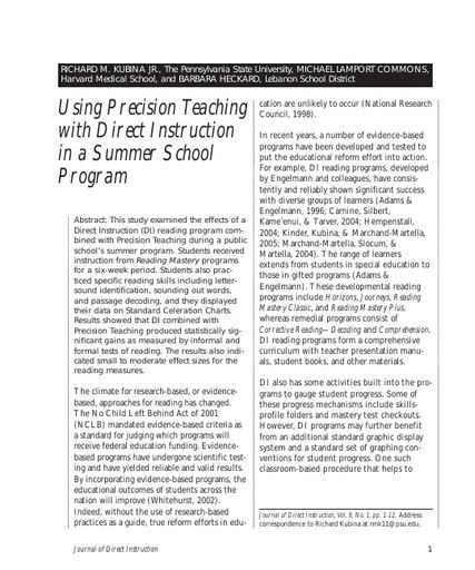 Using Precision Teaching with Direct Instruction in a Summer School Program