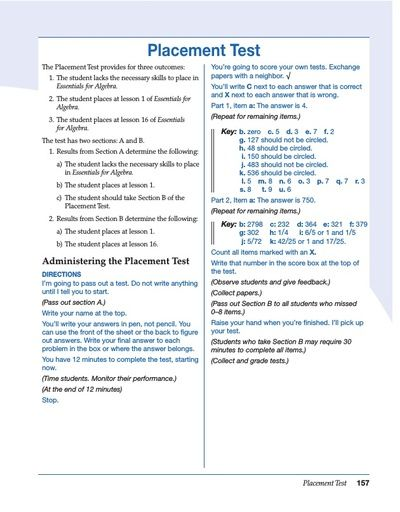 Essentials for Algebra Placement Test