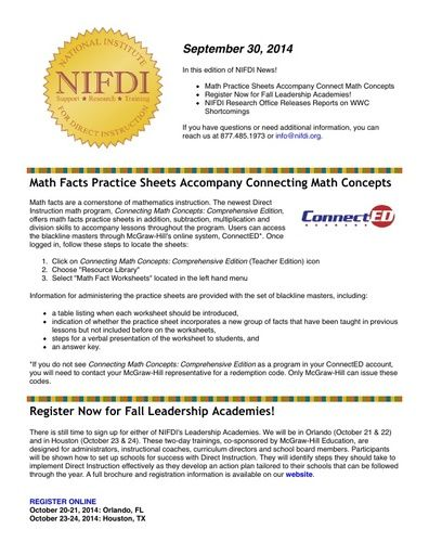 NIFDI News! 09-30-14 Edition